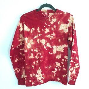 Red Reverse bleach dye long sleeve crewneck shirt
